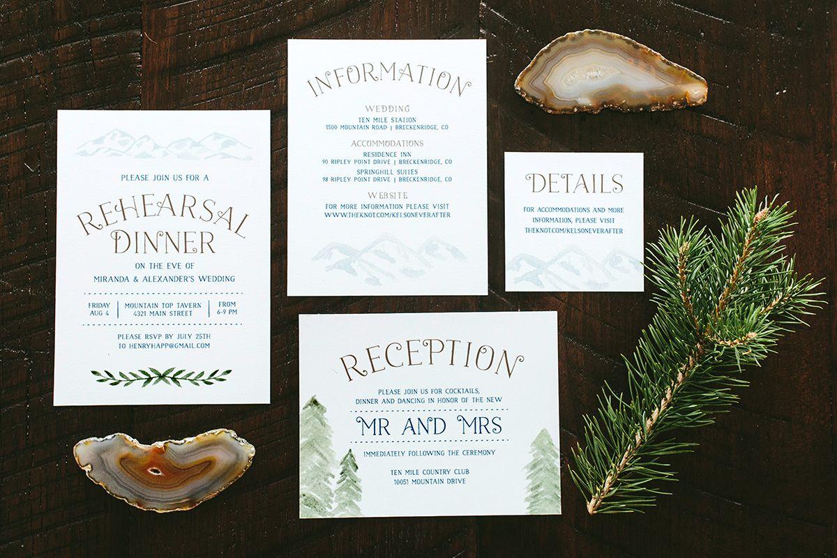 Miranda Rustic Mountains Wedding Invitation Suite | Whimsy Wedding ...