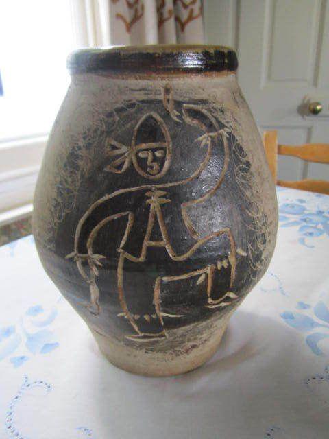 """Frank Hamer member of south Wales potters""""Morris Dancers"""" 10 """" Stoneware Vase"""