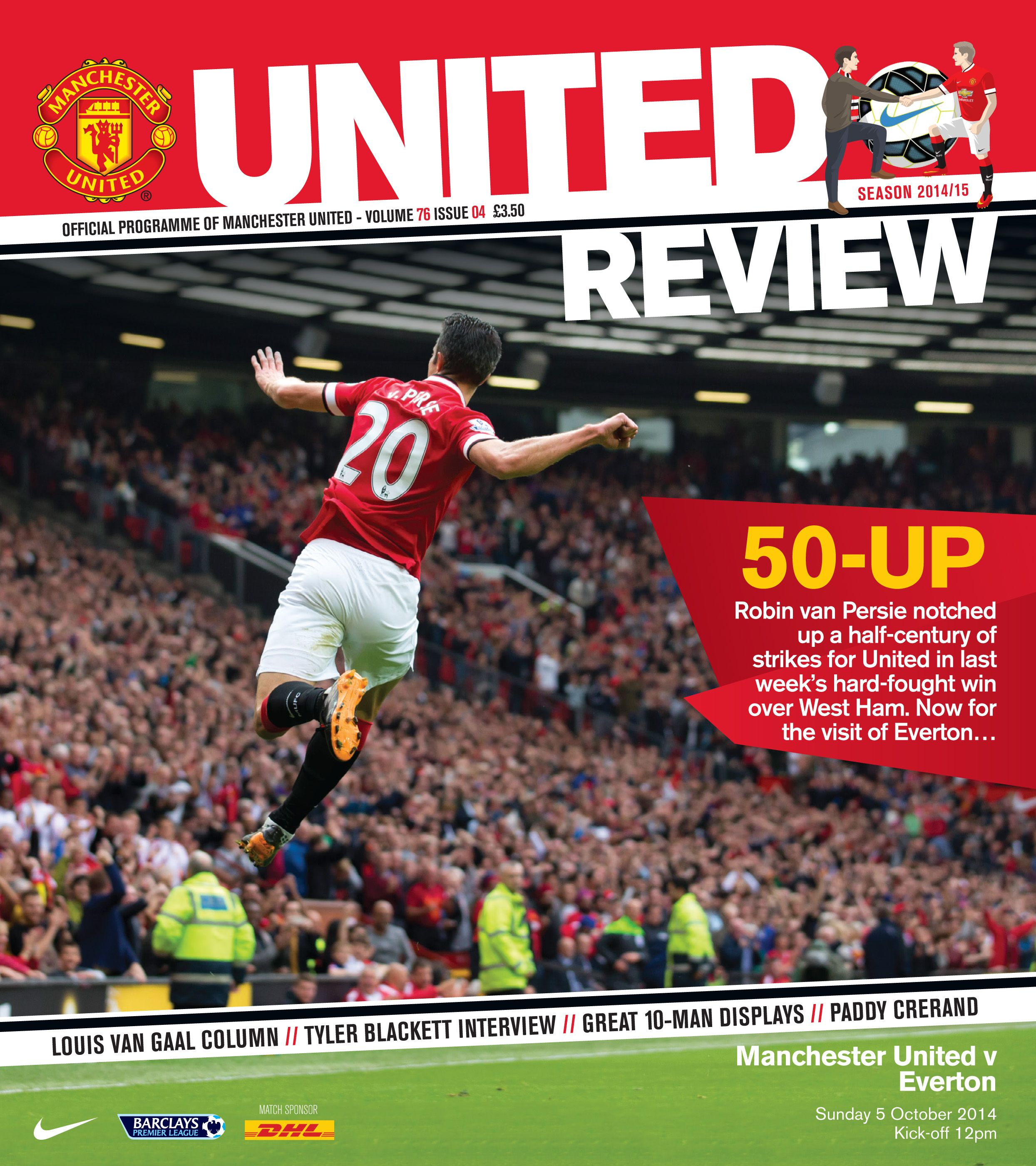 front cover of united review for the manutd home game. Black Bedroom Furniture Sets. Home Design Ideas