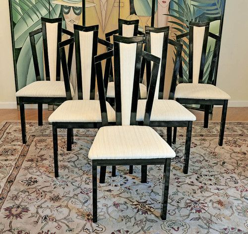 6 italian lacquer art deco dining chairs school projects. Black Bedroom Furniture Sets. Home Design Ideas