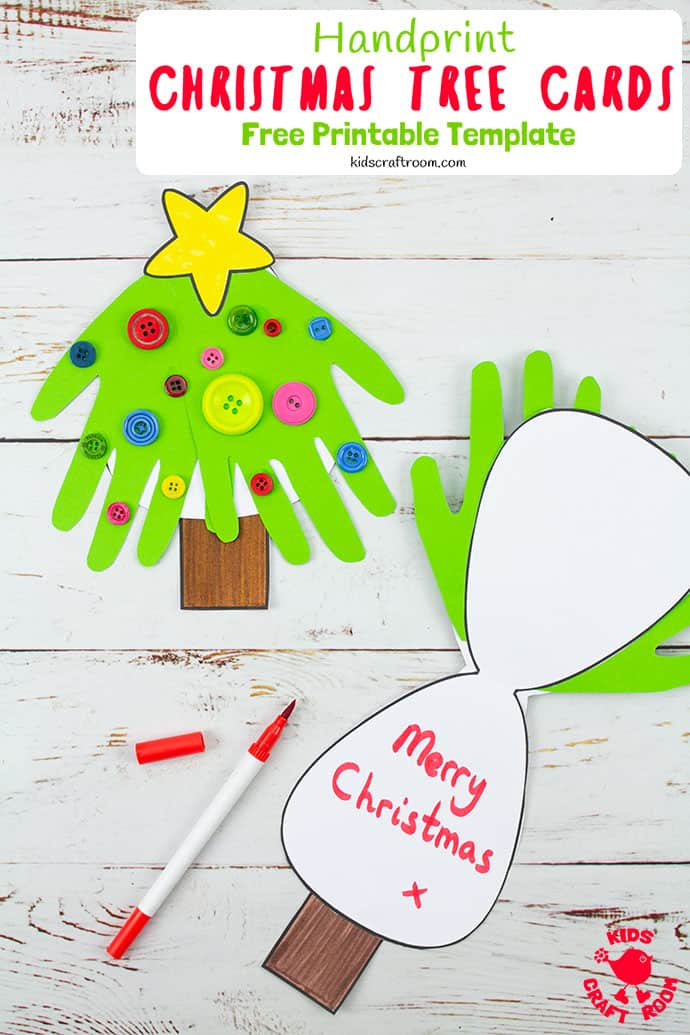 handprint christmas tree cards with images  handprint