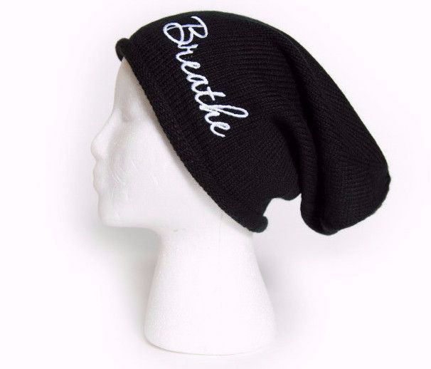 Slouchy beanie with word BREATHE Embroidered Oversized Beanie