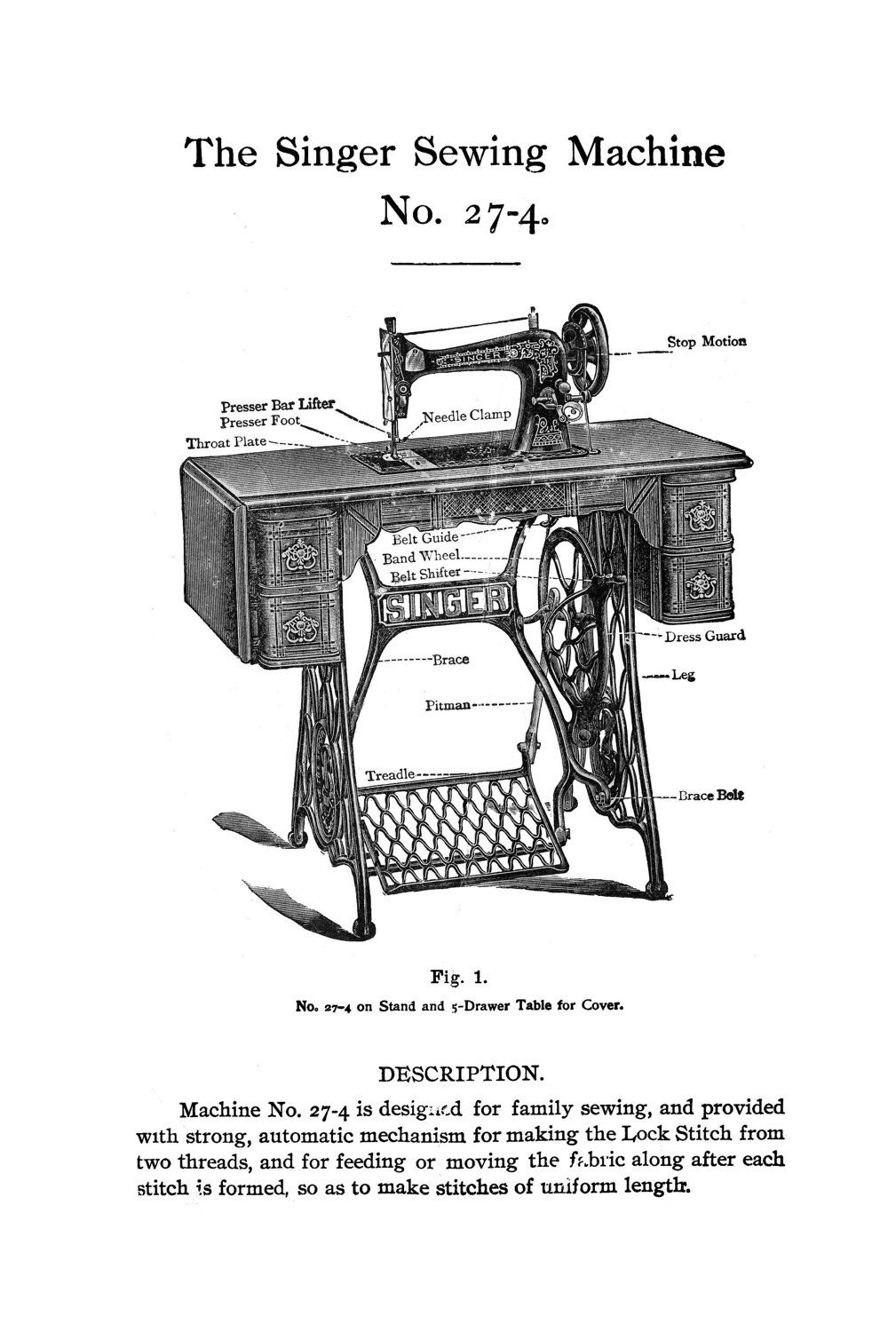 Singer Pedal Wiring Diagram Library Sewing Machine 1906 Edwardian Treadle Attachments Use Guide Book 27 4 Parts Numbers