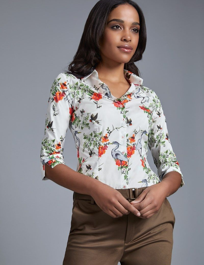 5e06822b Women's White & Green Floral Fitted 3 Quarter Sleeve Shirt - Low Collar