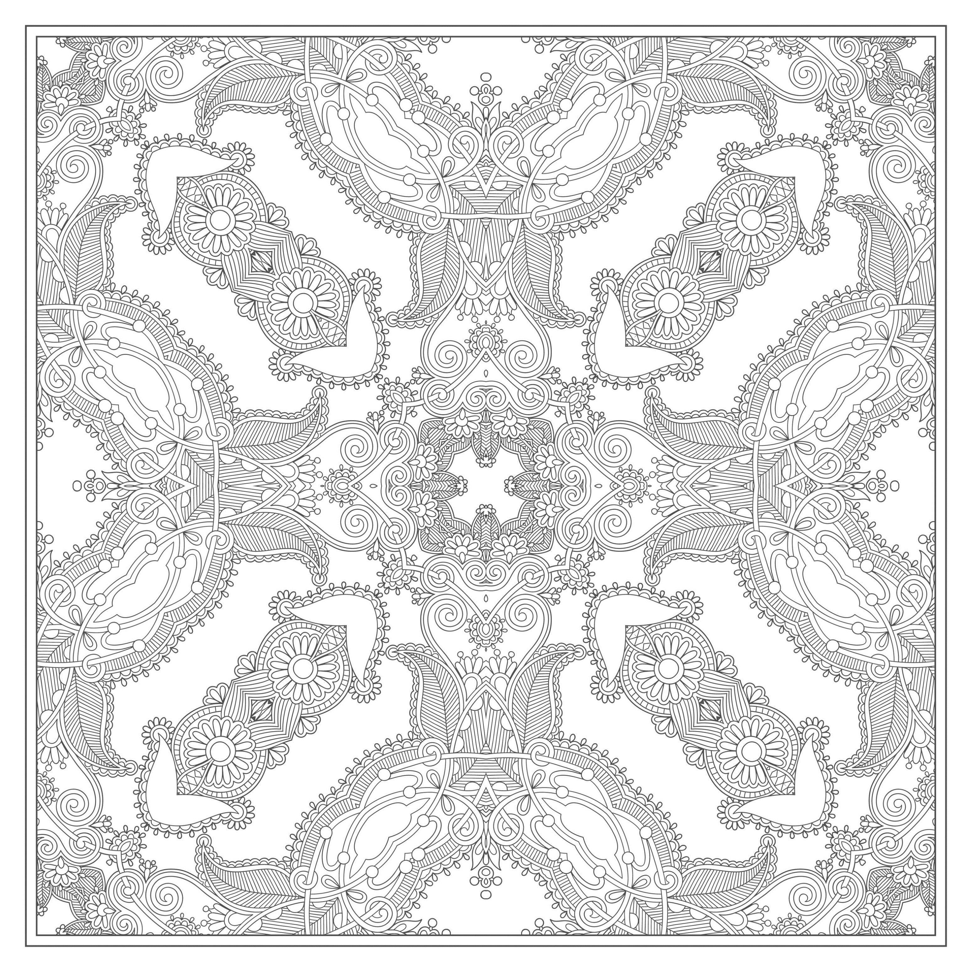 K coloring pages for adults - Free Coloring Page Coloring Adult Squared Mandala By Karakotsya 4
