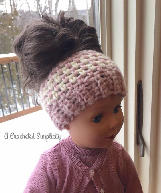 Linen Stitch Messy Bun Hat - Free Crochet Hat Pattern with Video Tutorial - A Crocheted Simplicity
