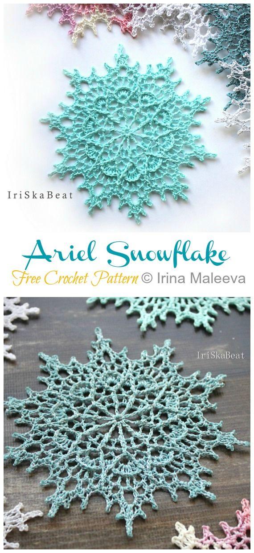 8 Winter Flower Snowflake Crochet Free Patterns #stuff