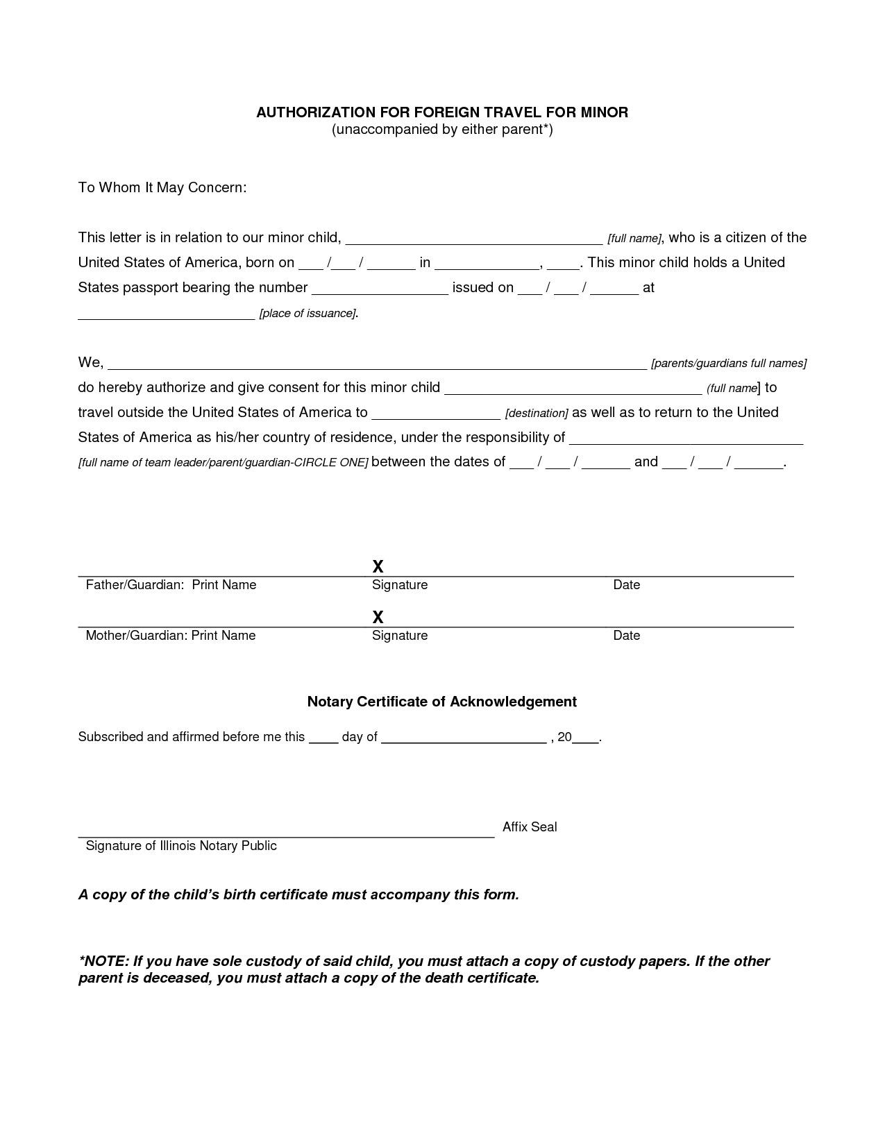 Authorization Letter For Child Travel With Grandparents Consent