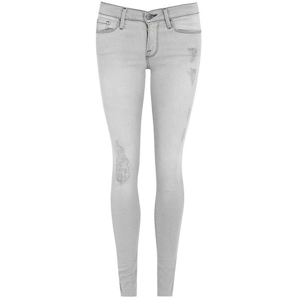 Womens Skinny Jeans Frame Denim Le Skinny De Jeanne Grey Jeans ($340) ❤ liked on Polyvore featuring jeans, destructed skinny jeans, destroyed skinny jeans, grey skinny jeans, skinny fit jeans and super skinny jeans