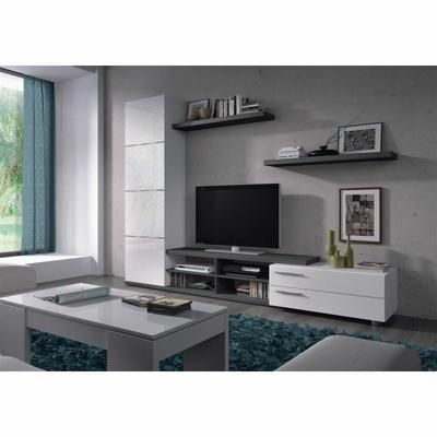 adhara meuble tv 2 tagres murales mlamins blancs brillants et gris cendr l 240 cm - Meuble Tv Living