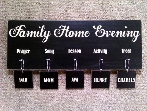 FHE Family Home Evening Board  Custom/Personalized by polkadotdoor