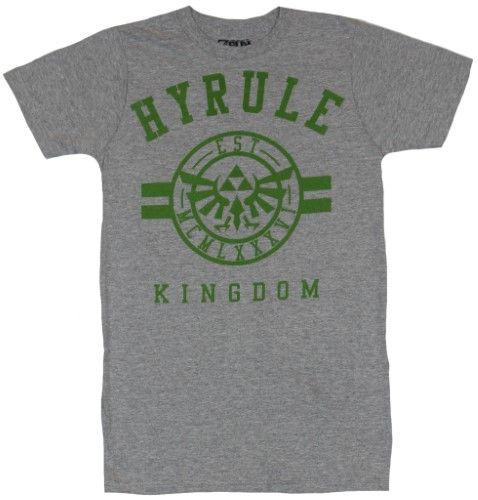 Legend of Zelda Mens T-Shirt - Hyrule Kingdom University Style Logo Image - X-Small / gray, Men's, Size: 2X-Small, Grey