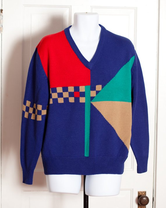 b07060936c07 Vintage 80s 90s Vneck Sweater - blue red tan