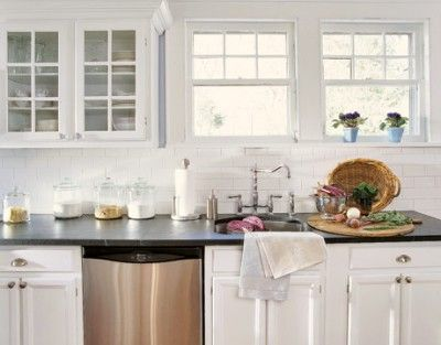 A Glass Front Cabinet Would Be Nice I Love Mostly White Kitchens