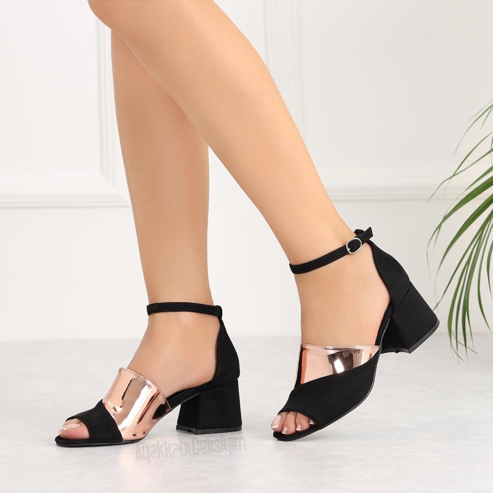 Lestani Suet Siyah Bronz Kisa Topuklu Kadin Ayakkabi Topuklular Siyah Sandalet Ayakkabilar