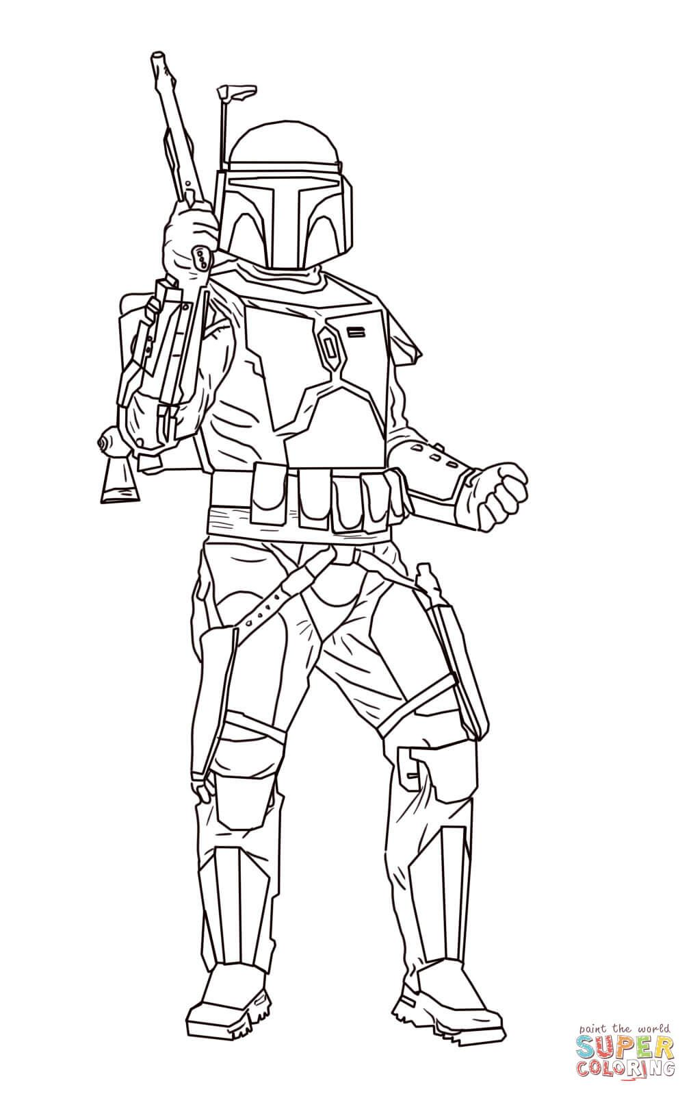 Jango Fett Super Coloring Lineart Star Wars Disney Star