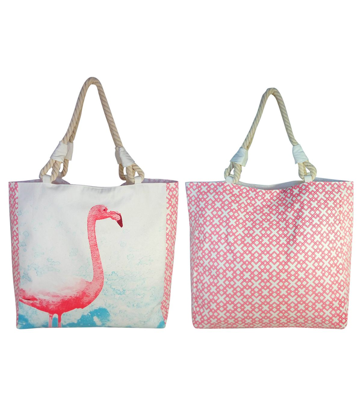 Escape To Paradise Canvas Tote-Flamingo | Summer Accessories ...