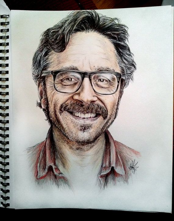 Hand drawn portrait of comedian and podcaster Marc Maron. Drawn in pen and Caran Dache pencils on 11X14 60lb Strathmore recycled…