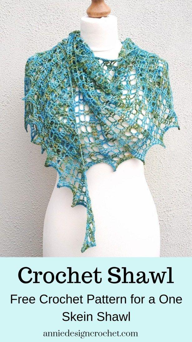 Flora Shawl – One Skein Free Crochet Pattern – Annie Design Crochet #shawlcrochetpattern