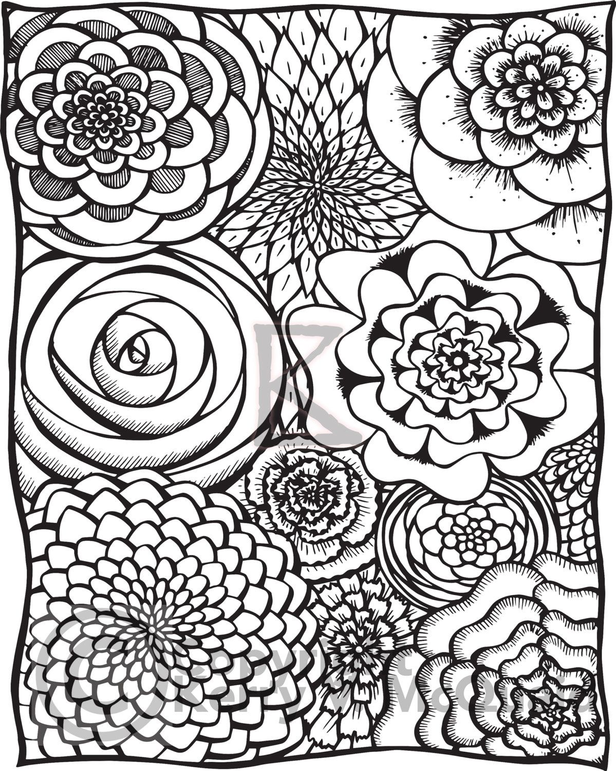 Flower Page Instant PDF Download Coloring Page Hand Drawn