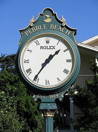 The famous Rolex clock at Pebble Beach Golf Links in