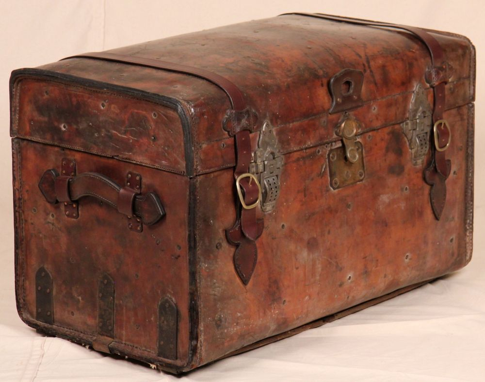Beautiful distressed worn leather antique steamer trunk chest beautiful distressed worn leather antique steamer trunk chest coffee table geotapseo Image collections