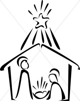Nativity In Black And White With Bright Star Nativity Clipart Simple Nativity Nativity Silhouette Christmas Drawing