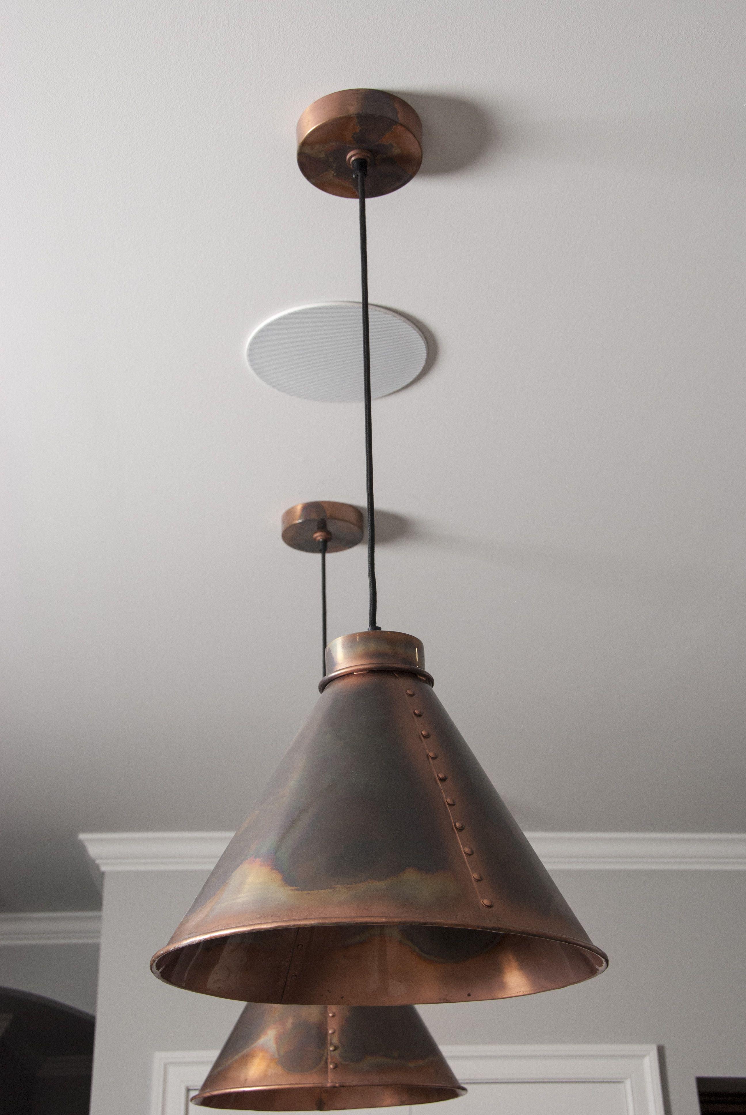Copper pendants island lights patina finish cone pendants neo industrial industrial kitchen