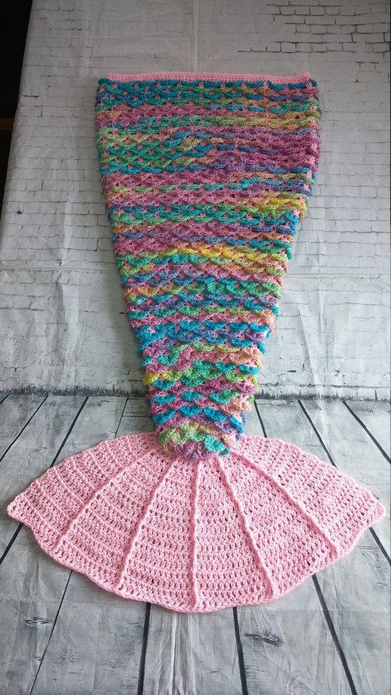 Mermaid tail blanket with fin - Crocodile stitch - sparkle - glitter ...