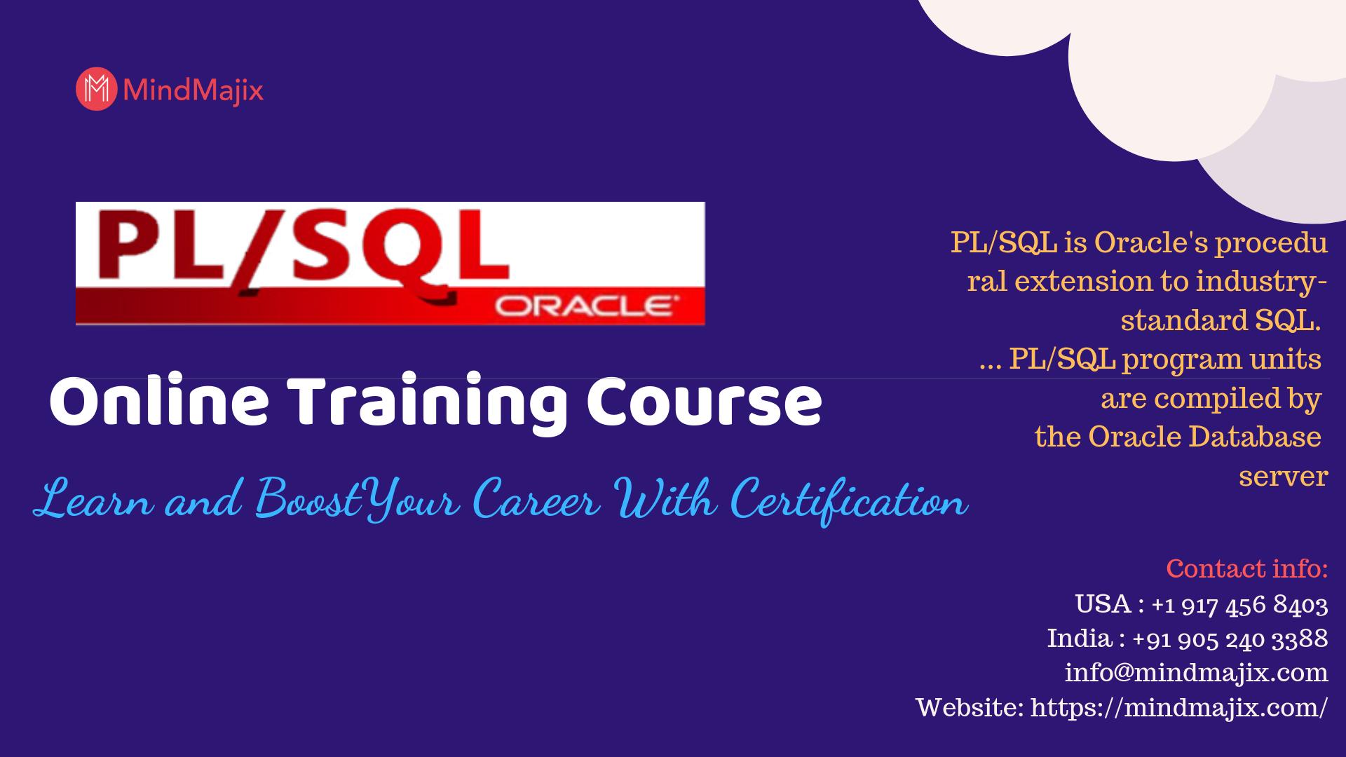 Oracle Pl Sql Online Training Course Pl Sql Sql Online Training Courses