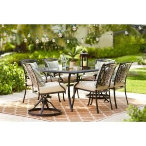 hampton bay belcourt 7 piece metal outdoor dining set with rh pinterest com