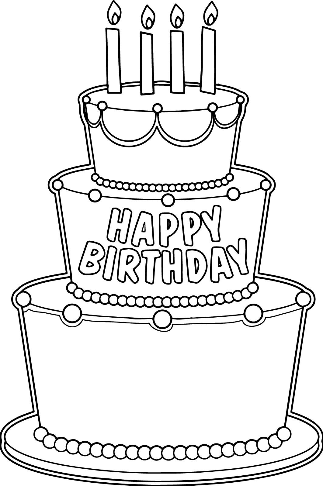 Nice Big Birthday Cake Coloring Page Birthday Coloring Pages Big Birthday Cake Happy Birthday Coloring Pages