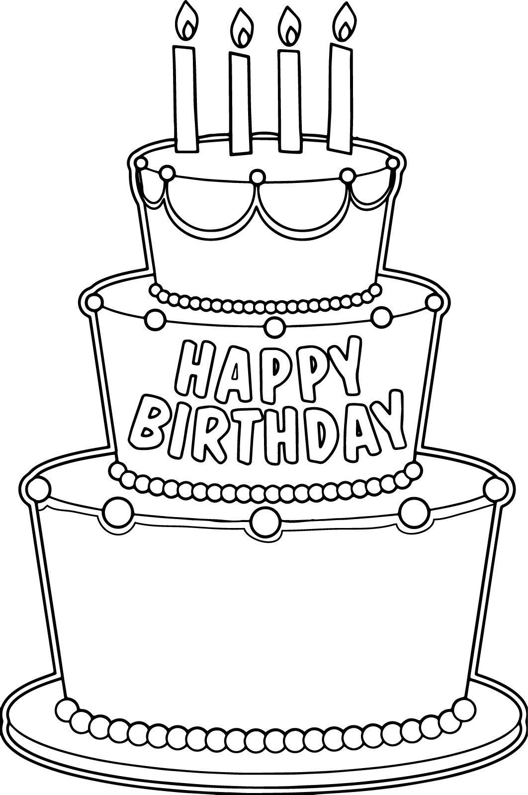 nice Big Birthday Cake Coloring Page Big birthday cake