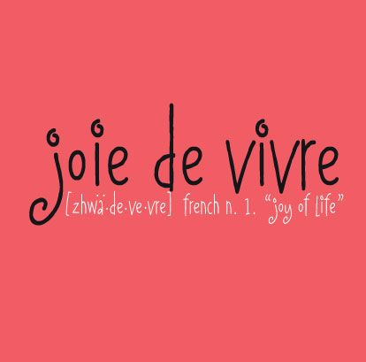 this is another gift from the french to my vocabulary joie de vivre