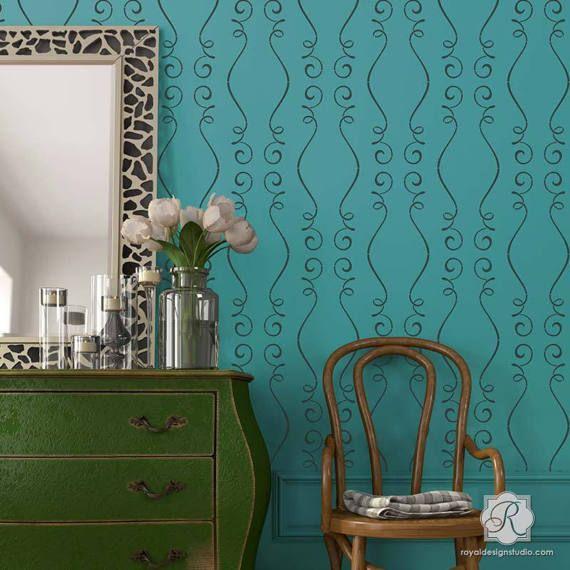 cute modern french scroll wall art stencil paint wallpaper look rh pinterest com