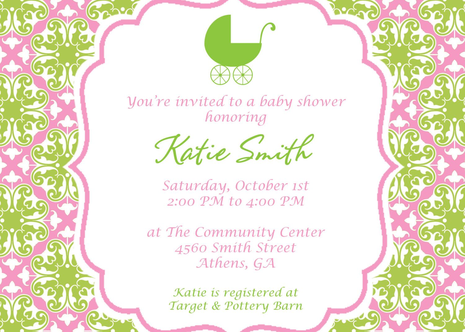 Printable Pretty in Pink and Green Baby Shower by cohenlane ...