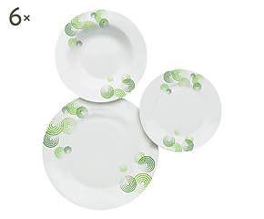Servizio di piatti in porcellana Eclissi verde - 18 pezzi
