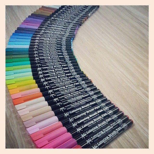 48 beautiful colors of Koi Coloring Brush Pens - watercolors in ...