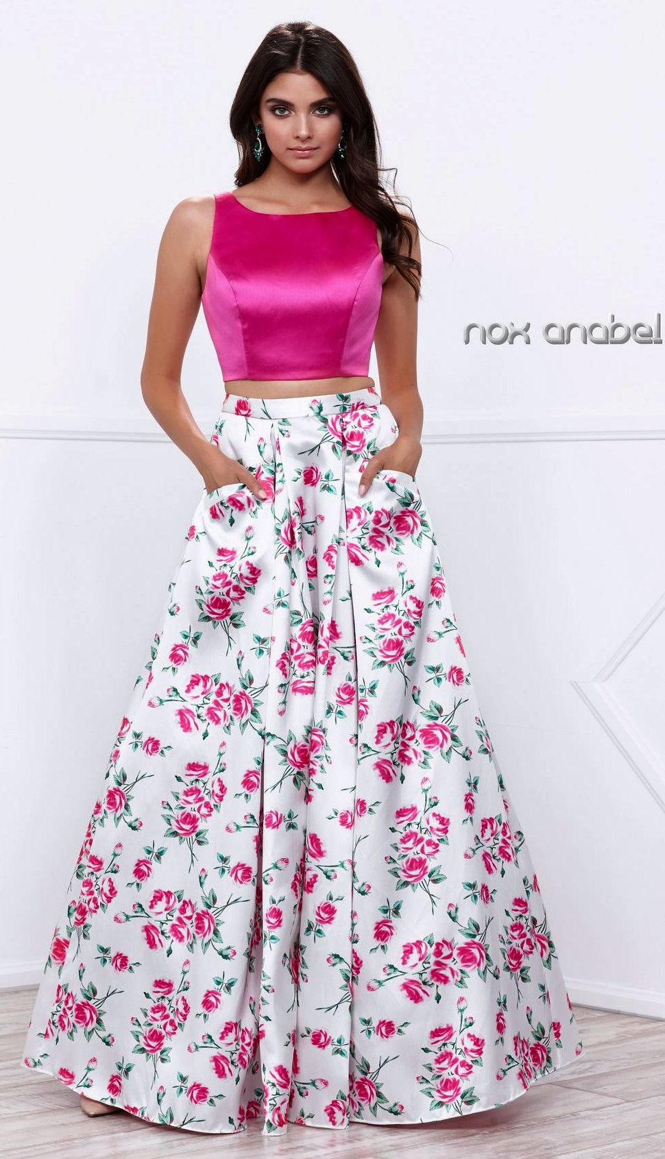 eaee08f6cf0 Prom Dresses Evening Dresses UNDER  200 BR ana8331 BR Two piece with solid  fuchsia bateau neckline crop top and floral print floor length skirt!