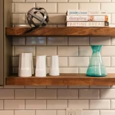 Floating Wood Shelves With Cookbooks