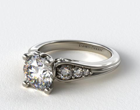 14k White Gold Graduated Pave Swirl Engagement Ring   so pretty