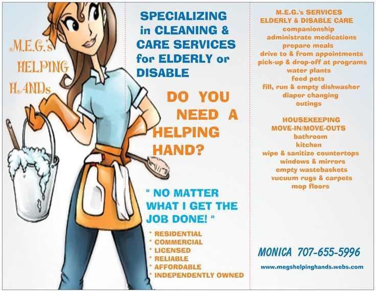 Housekeeping Flyers Specializing In Cleaning Care For Elder And
