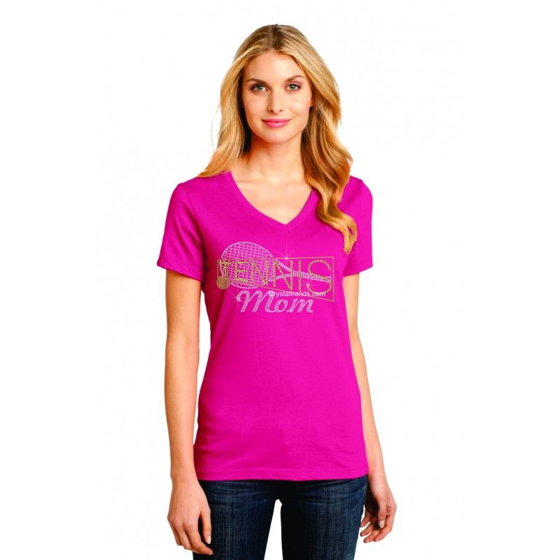"""Tennis Mom"" Ladies Perfect Weight V-Neck Tee. ndk1493"