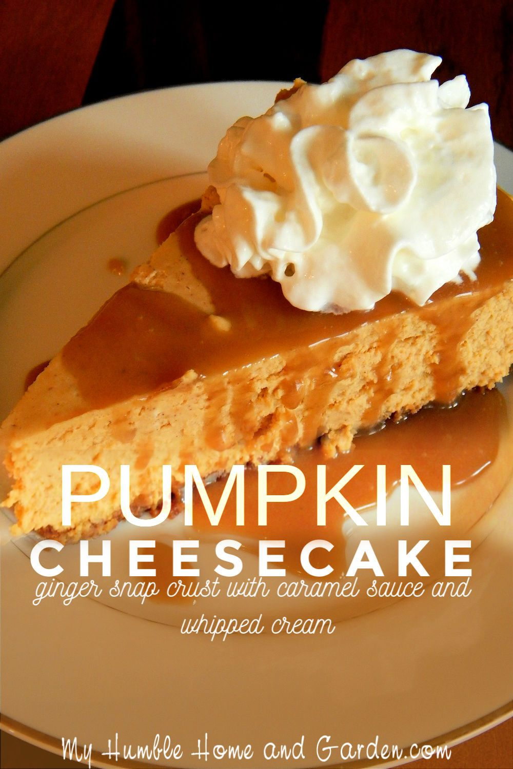 Best Pumpkin Cheesecake Ginger Snap Crust And Caramel Sauce My Humble Home And Garden Recipe Pumpkin Cheesecake Savoury Cake Pumpkin Cheesecake Recipes