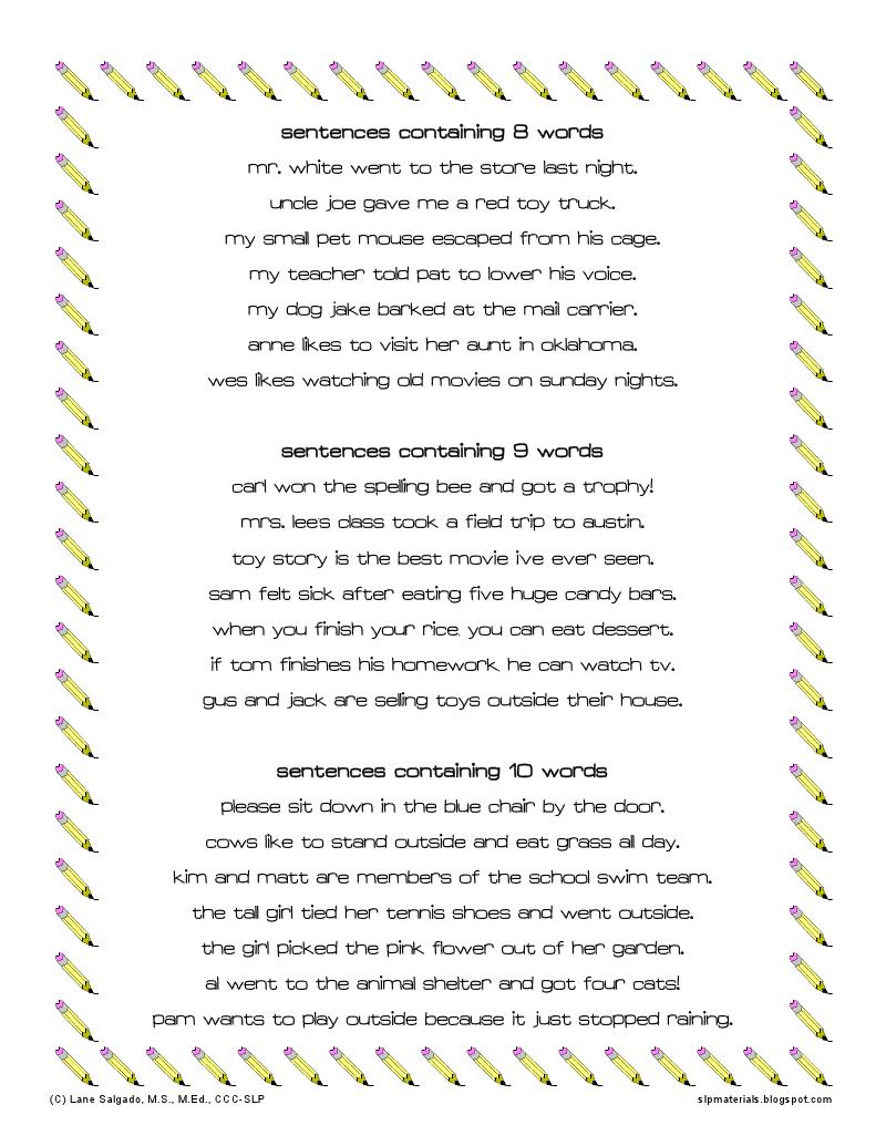 8-10 Word Sentences auditory memory