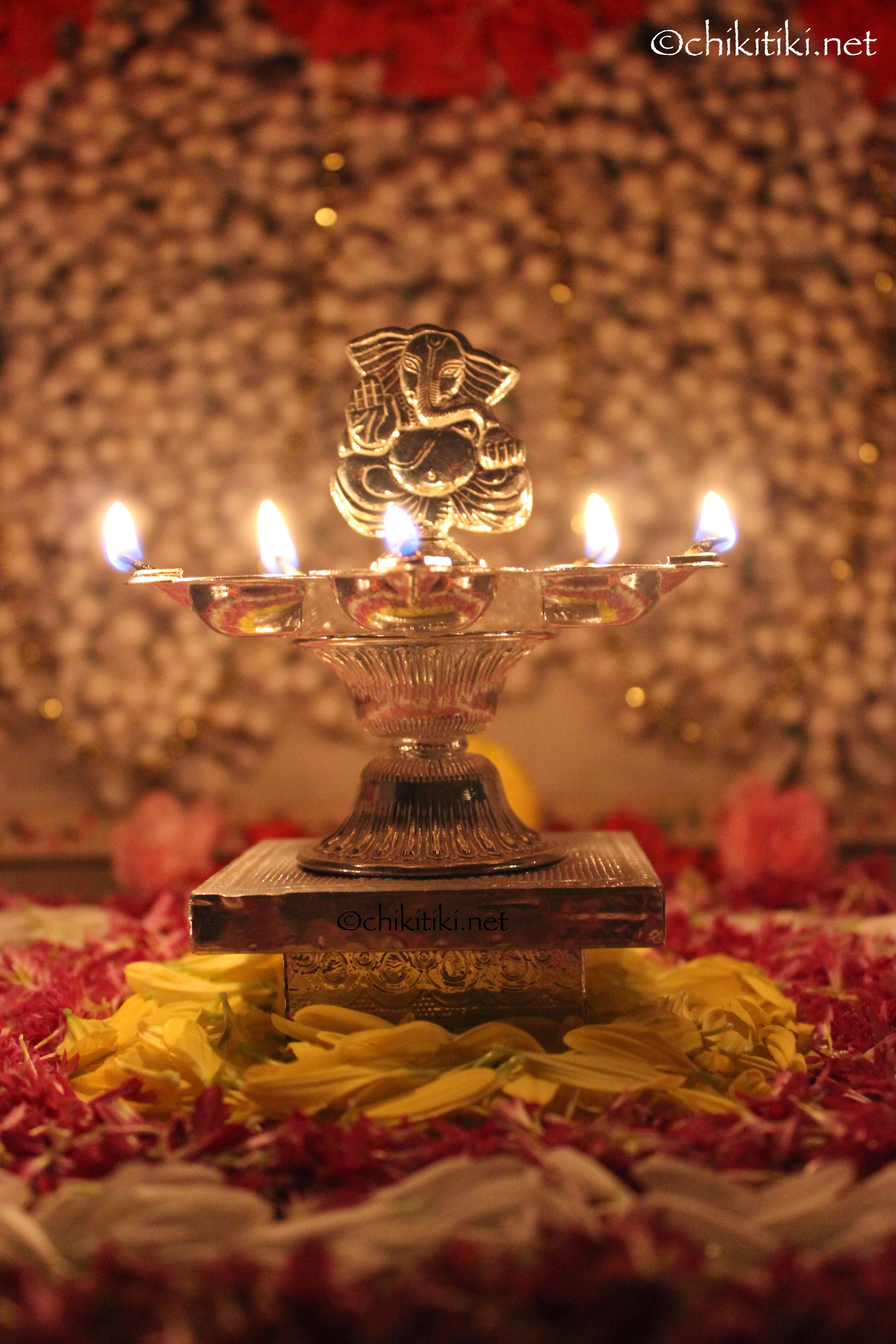 Ganesh Silver lamp Diwali Decoration Diya Lamp