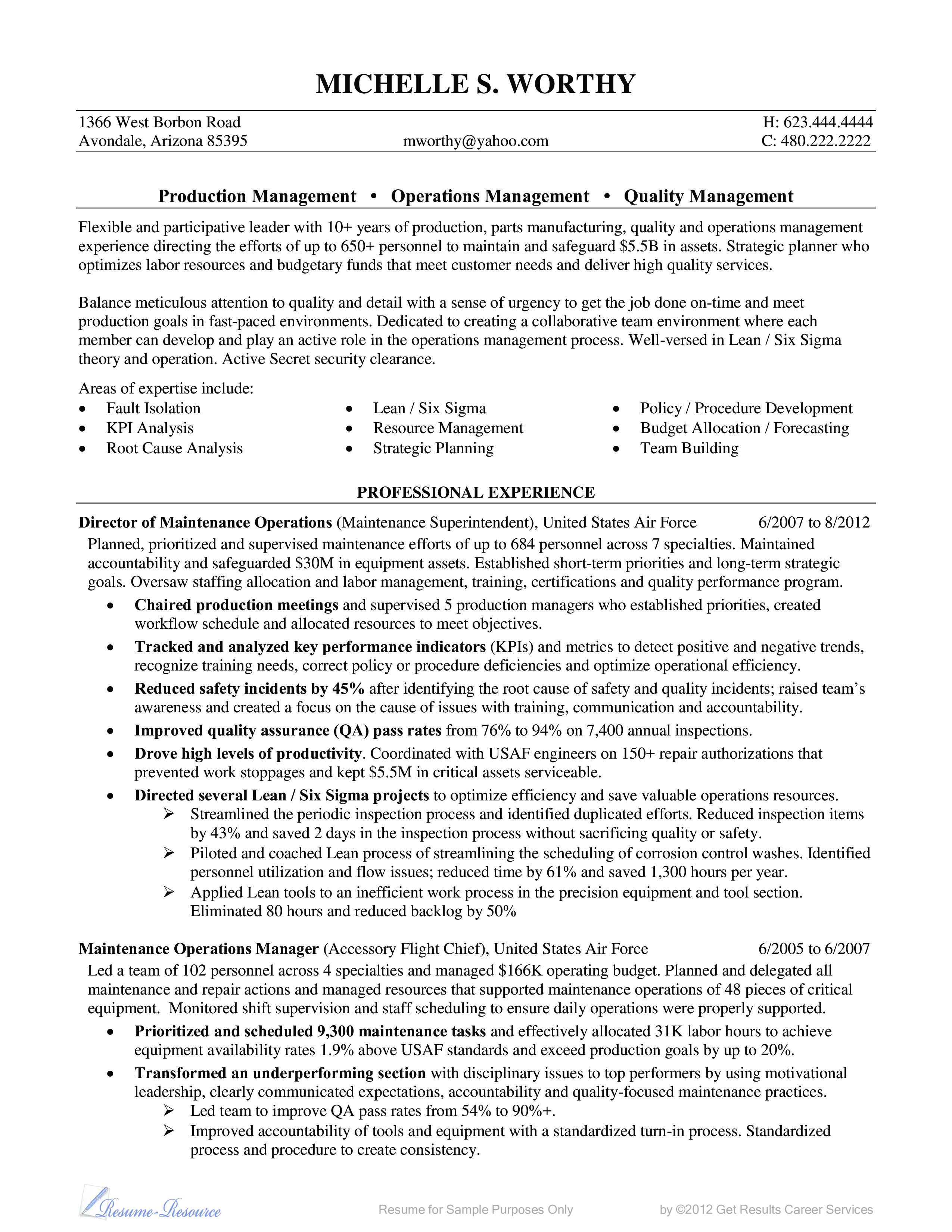 Example Of Military Resume Adorable Operations Quality Resume Example  Operations Quality Resume .