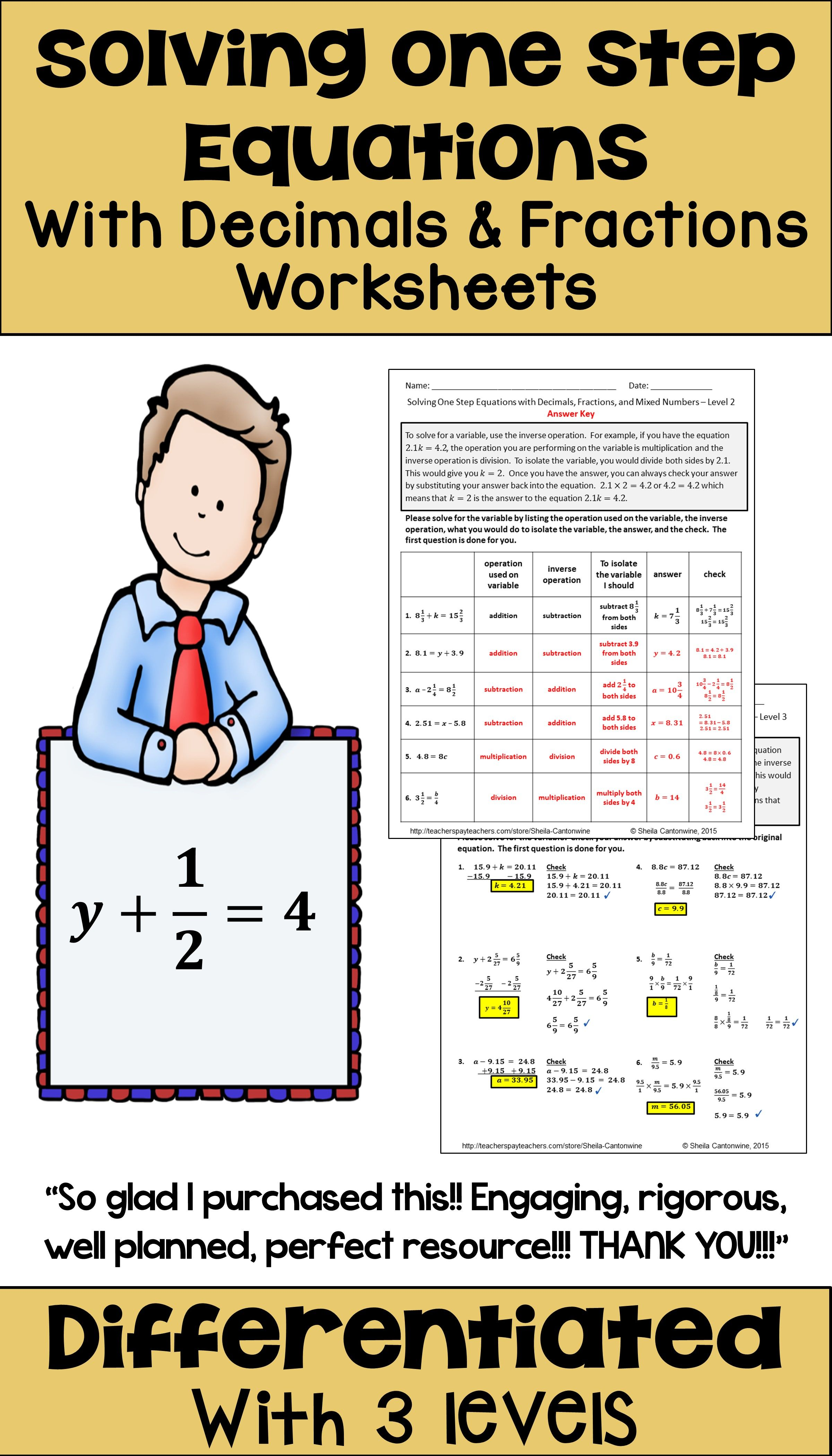 One Step Equations With Fractions And Decimals Worksheets Digital Printable One Step Equations Equations Fractions