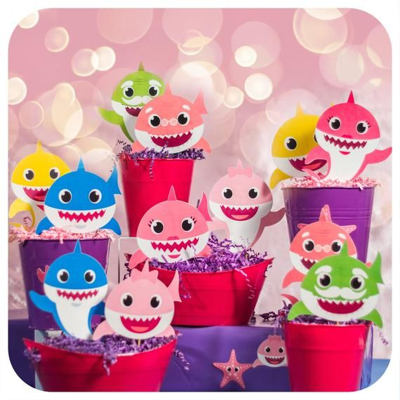 Baby Girl Shark Party Centerpieces PDF; Pink Baby Shark birthday Party; Pink Baby Shark Birthday Par