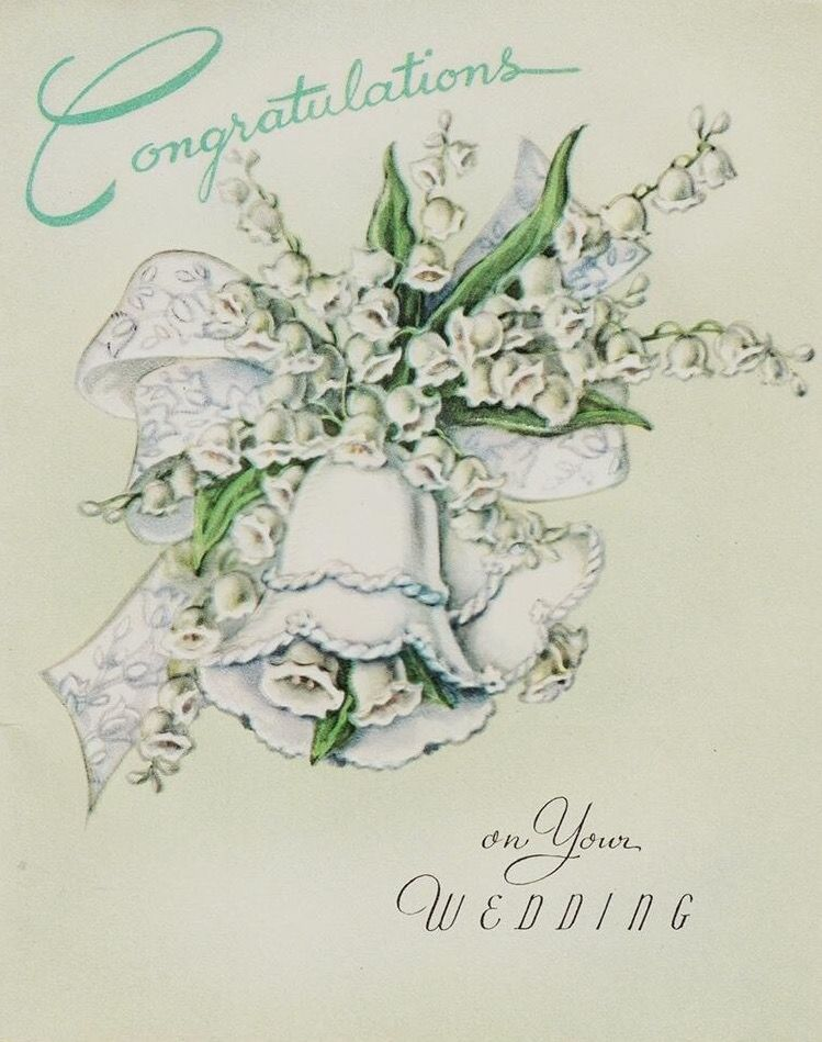 Vintage Embossed Wedding Bell with Lily of